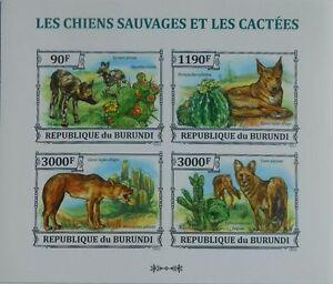 Wild dogs & Cactus dingo fauna Burundi m/s Sc.1382 MNH #BUR13320a IMPERF
