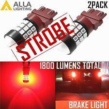Alla Lighting LED 3157 Safety Legal Strobe Flashing Brake Light Bulb|Signal,Red