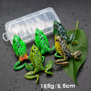 5pcs Large Frog Topwater Soft Fishing Lures Bait Bass Crankbaits 5.5cm/15.5g