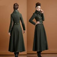 Hot Women's Wool Double Breasted Stand Collar Military Long Coat Trench Overcoat