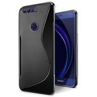 Handy Hülle Honor 8 Silikon Case Ultra Slim Cover Schutz Hülle Tasche Schwarz