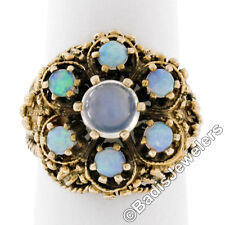 Large Vintage 14K Yellow Gold Round Blue Moonstone Opal Cluster Cocktail Ring