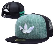 Embroidered Adidas Trefoil Snapback Green and Black Mesh Flat Cap: One Size