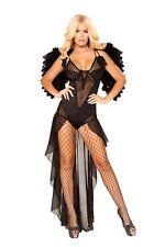 Roma Sexy Angel of Darkness Black Bodysuit Costume w/ Fishnet Detail 4868