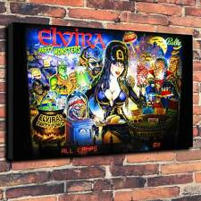 "Elvira Pinball Back Glass Printed Canvas A1.30""x20""~Deep 30mm Frame Mancave V1"
