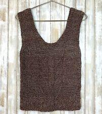 Plaza II Bloomingdales Brown Suede Leather Knit Sleeveless Tank Top S VINTAGE