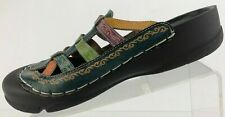 Elite By Corkys Strappy Mules Slip On Multi Color Closed Toe Slides Womens US 9