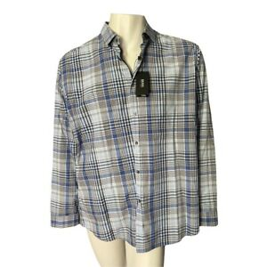 New With Tags Boss Hugo Boss Blue And Grey Plaid Dress Shirt Size 2XL