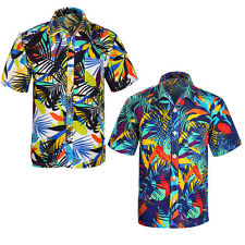 Mens Tropical Hawaiian Print Shirt Short Sleeve Beach Blue hawaiian Aloha Shirts