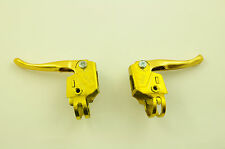 GENUINE 80'S MADE OLD SCHOOL BMX LANDAR MX,2 FINGER BRAKE LEVERS GOLD NOS