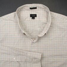J CREW Off White Color Check Button Down Mens Casual Dress Shirt - XL Slim Fit