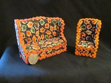 Fall Leaves Print Handmade 1/12 dollhouse miniature couch and chair set