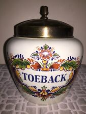 ANTIQUE POLYCHROOM ZENITH-GOUDA HOLLAND TOEBACK TOBACCO LIDDED JAR