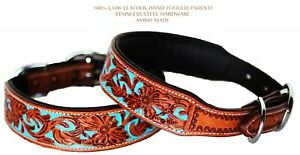 Dog Puppy Collar Hand Tooled and Painted Cow Leather Western 6047