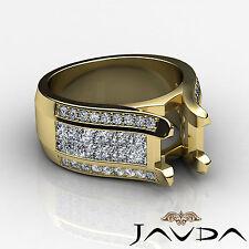 Pave Invisible Set Diamond Wedding Round Semi Mount Ring 14k Yellow Gold 1.7Ct