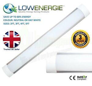 LED Slimline Tube Light Batten Wall/Ceiling Slim Natural Day White Multi Buy