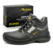 Safetoe Leather Men Safety Work Shoes Boots Steel Toe Reflective Water-resistant