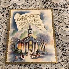 Vintage Greeting Card Christmas Church Music Notes