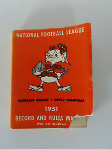 1951 NFL Records and Rules Manual Cleveland Browns