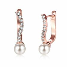 2.00 Ct Pearl Huggie Earrings Plated in 18K Rose Gold Made with Swarovski