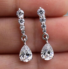 18K White Gold Filled - Waterdrop White Topaz Wedding Women Gemstone Earrings