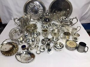 JOB LOT VINTAGE and ANTIQUE SILVER PLATED Items,