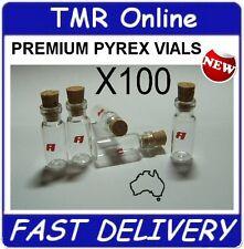 100 x 2 ml (2cc) Clear Glass Bottles Vials Pyrex & CORK Vial Tiny Bottle