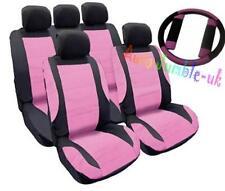 Rosa Coche Mirada De Cuero Cubierta De Asiento Set + Cubierta de rueda libre y Almohadillas de cinturón de seguridad Regalo