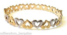 ROLLED YELLOW GOLD AND WHITE GOLD HEARTS BRACELET!!! NEW!!! RRP £69.99