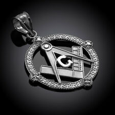 926 Sterling Silver Round Freemasons Masonic Pendant with 4 Cubic Zirconia
