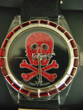 NWT TOYWATCH RARE DISCONTINUED CRYSTAL SKULL IN BLACK & RED WATCH **SALE**