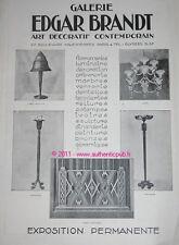 Publicite LUMINAIRE EDGAR BRANDT FERRONNERIE D'ART 1926 ART DECO DESIGN