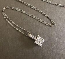 9ct White Gold Diamond Necklace 0.45ct Cluster Square Halo Pendant Near Half Ct