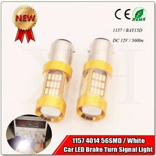 2X High Bright 1157 BAY15D Dual Color Light 56 SMD 4014 LED Tail Brake Bulbs 12V