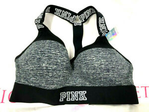Victoria's Secret Pink Ultimate T-Back Push-Up Sports Bra Gray Marled NWT
