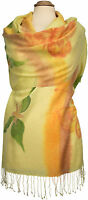 Schal scarf Wolle Seide wool silk handbemalt handpainted Gelb Floral scarf