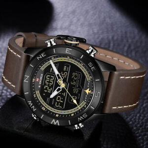 NAVIFORCE Men Sports LED Digital Watches Waterproof Quartz Cuff Wristwatch 9144