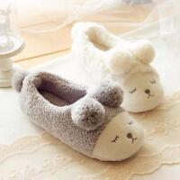 Lovely Winter Warm Women Men Home Indoor Slippers Plush Soft Bottom Flat Shoes