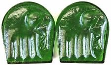 Pair of Elephant Emerald Vintage Glass Bookends