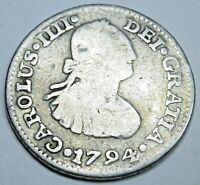 1794 Mexico Silver 1/2 Reales Genuine Antique 1700s Spanish Colonial Pirate Coin