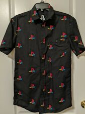PlayStation Collared Button Down Shirt Black Sony PS Logo All Over Mens Small