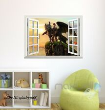 How to Train your Dragon Night Fury Hiccup 3D Window Wall decor kids Sticker