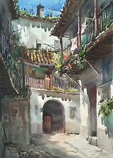 Pair Stunning Large Signed 1930s/40s Spanish Plein Air Watercolors Heavy Paper
