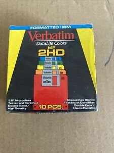 VERBATIM DataLife Colors MF 2HD Floppy Discs Formatted IBM New Factory Sealed