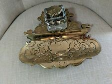 Vintage  Brass Inkwell Ornate Signed by Crown Futt