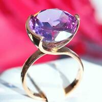 14k rose gold 11.00ct alexandrite solitaire ring size 6.25 vintage handmade 7.0g