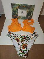 Cupshe Bikini Orange Ruffle With Floral Bottom Women Swimwear NWT Size Small