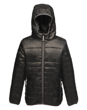 Regatta Kids Boys Girls Water Repellent Padded Jacket Coat With Hood Ages 3-12 Black 11-12 Years