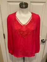 Elie Tahari Pink Floral Lace V-Neck Silk Top, Size Small