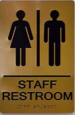 New listing Staff Restroom Gold Sign (Aluminium, Gold/Black,Size 6X9) .(ref1820)